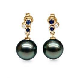 Orecchini Venceslas - Perle Tahiti, Oro Giallo, Zaffiri e Diamanti
