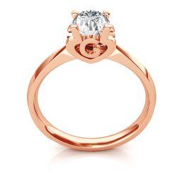 Bague prénom - Lettre G - Diamant, or rose   Gemperles