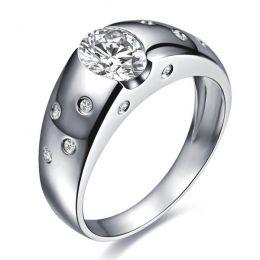 Bague pour homme or blanc 18cts - Mille éclats diamantés | Spencer