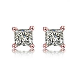 Puces diamants taille princesse 0.20ct. Or rose. Personnalisable