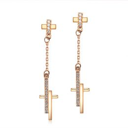 Boucles oreilles croix pendante Or rose diamants 0.21ct