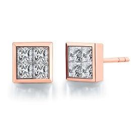 Boucles puces diamants princesse 0.40ct. Or rose. Personnalisable