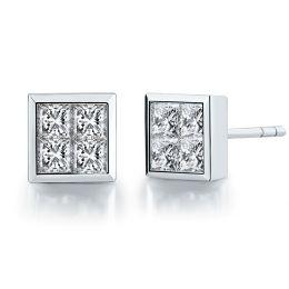 Boucles puces diamants princesse 0.40ct. Or blanc. Personnalisable