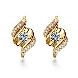 Boucles d'oreilles pendantes. Or jaune Diamants. Carat personnalisable