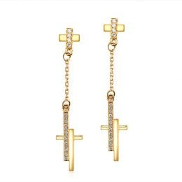 Boucles oreilles croix pendante Or jaune diamants 0.21ct