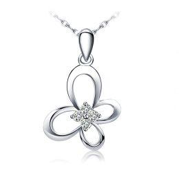 Pendentif fleur papillonnante - Or blanc 18 carats - Diamants 0.08ct