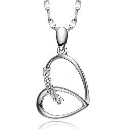 Pendentif coeur gracieux papillon - Or blanc, diamants