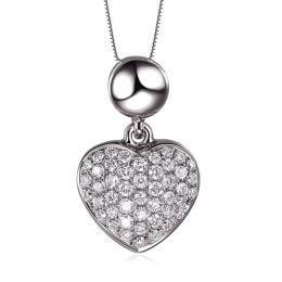 Pendentif coeur pavé de diamants - Or blanc et diamants 0.23ct