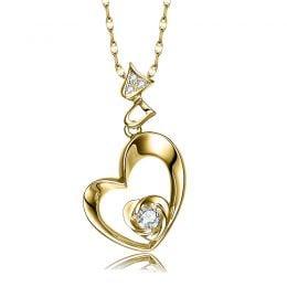 Pendentif Coeur de Rose - Diamants, or jaune