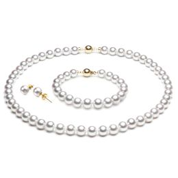 Parure perle Akoya - Collier, bracelet et boucles d'oreilles en or jaune