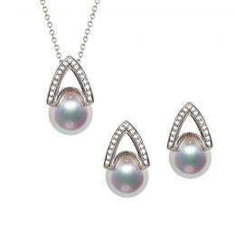 Pendentif et Boucles Masako du Japon. Perles Akoya, Or blanc, diamants