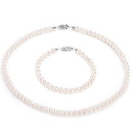 Parure perle mariage - Perles eau douce blanches - Fermoirs or blanc