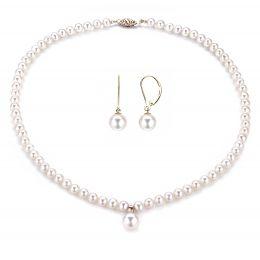 Parure en perle pour mariage - Collier et boucles oreilles or jaune