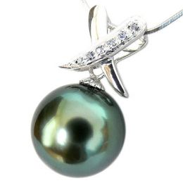 Pendentif Béatrice forme croix - Perle de Tahiti, Or blanc