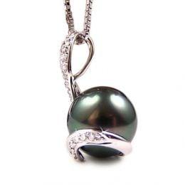 Ciondolo Seal - Oro Bianco, Diamanti e Perla di Tahiti