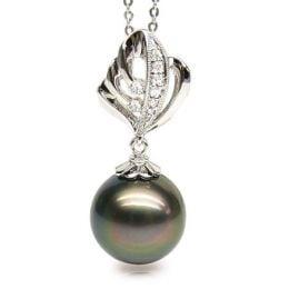 Ciondolo Ramsès - Oro Bianco, Diamanti e Perla di Tahiti