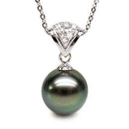Pendentif classique - Perle de Tahiti grise foncée - Or blanc, diamant