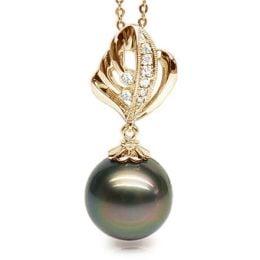 Ciondolo Xerxès - Oro Giallo, Diamanti e Perla di Tahiti
