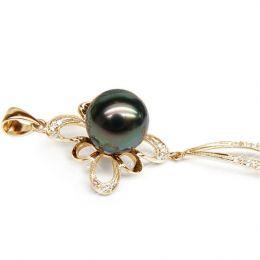 Ciondolo diamanti oro giallo - Perla di Tahiti nera, blu, verde - 10.5/11mm