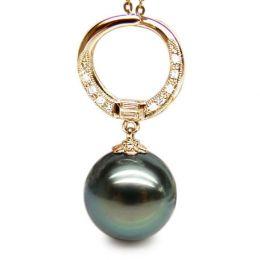 Ciondolo Anello - Oro Giallo, Diamanti e Perla di Tahiti