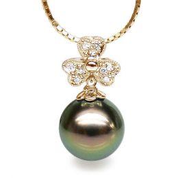 Ciondolo Trifoglio Marguerite - Oro Giallo, Perla di Tahiti