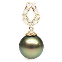 Ciondolo oro giallo - Perla di Tahiti nera, bronzo - 13/14mm