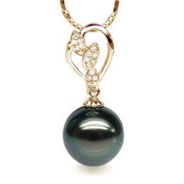 Pendentif pétales d'or jaune - Diamants pavés - Perle de Tahiti