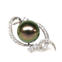 Ciondolo Valdés - Oro Bianco, Diamanti e Perla di Tahiti