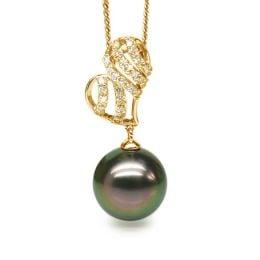 Ciondolo Cuore - Oro Giallo, Diamanti e Perla di Tahiti
