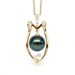 Pendentif Protection bouclier. Perle de Tahiti, Or jaune