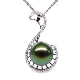 Pendentif Nature - Grâce du cygne - Perle de Tahiti - Or blanc, diamants