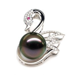 Pendentif cygne - Perle de Tahiti - Or blanc, diamants, saphir rose