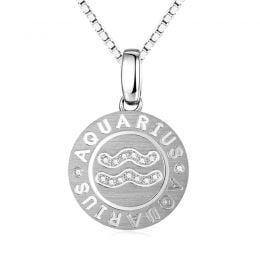 Pendentif Aquarius Or blanc. Signe du verseau. Zodiaque