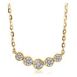 Collier pendentif Or jaune. 5 diamants sertis clos 0.26ct | Gemperles