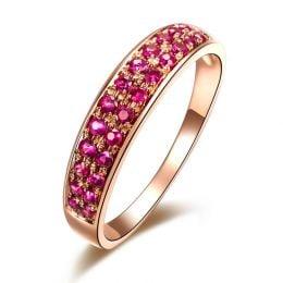 Bague or rose demi tour rubis - 2 rangées de pierres pavées