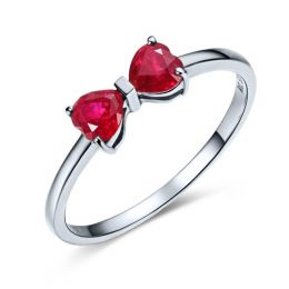 Bague or blanc rubis taille coeur - Noeud papillon