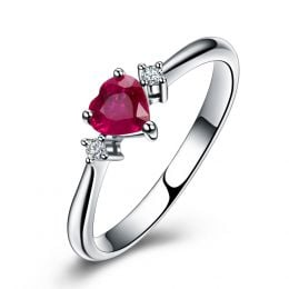 Coeur d'amour - Bague coeur d'amour - Rubis, diamants, or blanc
