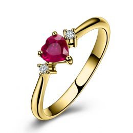 Coeur d'amour - Bague coeur d'amour - Rubis, diamants, or jaune