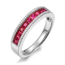 Bague rubis diamant or blanc - Lumière Érubescente