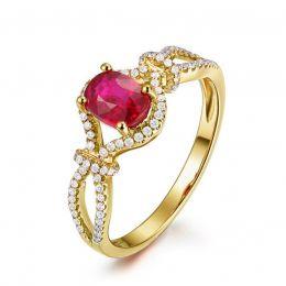 Bague rubis 1 carat or jaune. Diamants sertis | Secret Garden