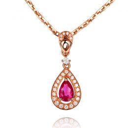 Pendentif princesse Or rose 18cts - Rubis poire et diamants