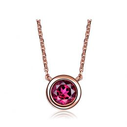 Collier pendentif solitaire rubis Or rose