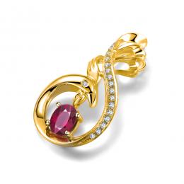 Pendentif cygne or jaune - Rubis et diamants en pendeloque