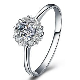 Solitaire bague or blanc - Coeur caillouté - Pavage diamants 0.33ct