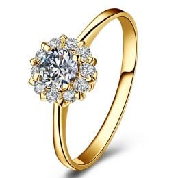 Solitaire Coeur Caillouté - Or Jaune & Pavage diamants 0.43ct | Gemperles