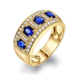 Bague quatuor saphirs. Pavage diamant. Or jaune | Bhagya