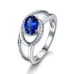 Bague de fiançailles saphir ovale 1 carat. Diamant, Or blanc