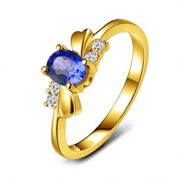 Bague saphir solitaire - Or jaune 18 carats - Sertissage diamants