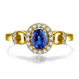 Solitaire en Saphir et Diamants - Bague en Or jaune 18 carats