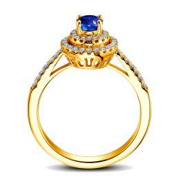 Bague sertissage virtuose Or jaune, diamants et saphir 0.50ct